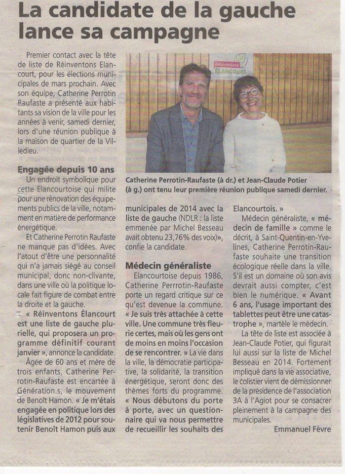 """""""La candidate de la gauche lance sa campagne"""" Retrouvez l'article des Nouvelles de Versailles sur le lancement de campagne de Réinventons Élancourt"""